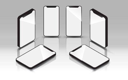 Smartphone mockup, flat lay, isometric, with shadow. EPS10, vector, illustration.