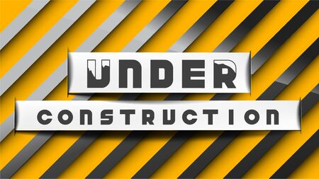 Under construction sign paper cut style on yellow black stripes background. EPS10, Vector, illustration. Size ratio 1920x1080 px.