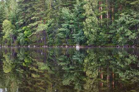 oclock: The pure lake in an environment of wood thickets  Finland