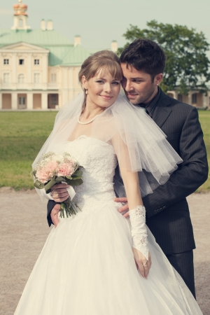 wedding in the territory of a palace of Menshikov Stock Photo - 18393786