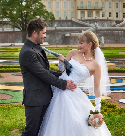 russian ethnicity caucasian: wedding in the territory of a palace of Menshikov