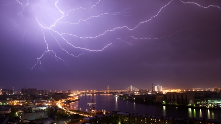 Urban view during a strong thunder-storm in St  Petersburg photo
