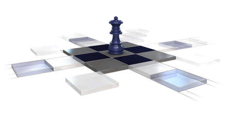 gamesmanship: 3d, chess, strategy, game, queen, chessboard over white