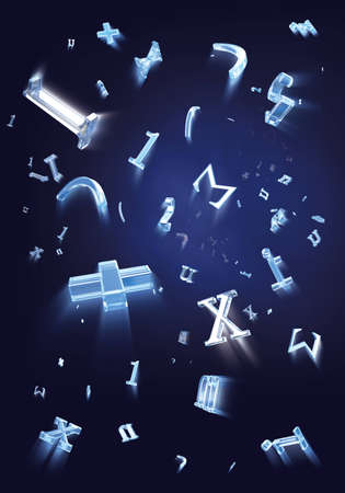 addition symbol: flying formula signs with motion blur and reflection glass