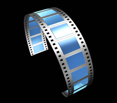 glas: 3d, filmstrip, film, strip transparent with reflection and glas