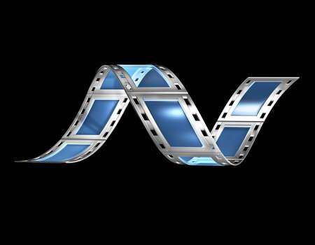 bollywood: 3d, filmstrip, film, strip transparant met reflectie en glas