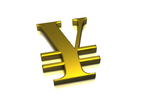 japanese currency: Japanese Currency in a gold metal style with reflection