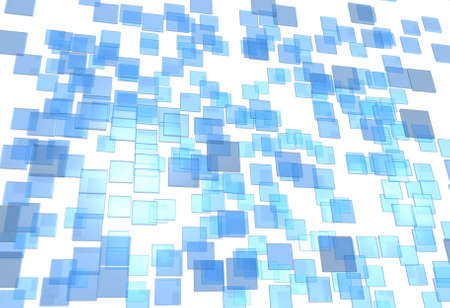 metall: Many little 3D plates blue and transparent in chaos arrangement