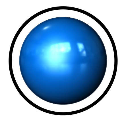 metall and glass: Symbol Ball as Icon with reflection in a comic style