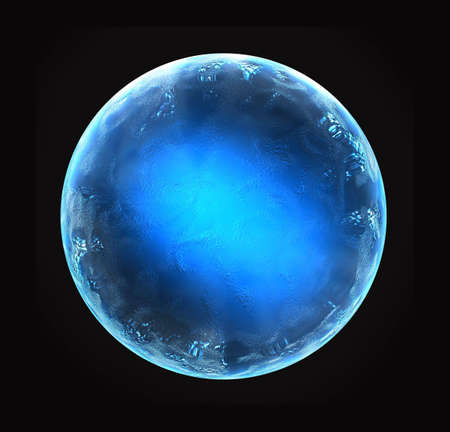 microcosm: Blue shiny ball in a metallic style with relief Stock Photo