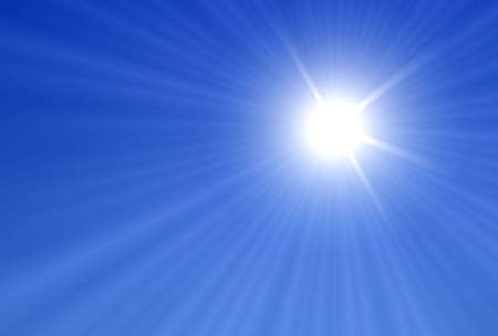 Sun and Sun rays over a blue Background Stock Photo - 2073957