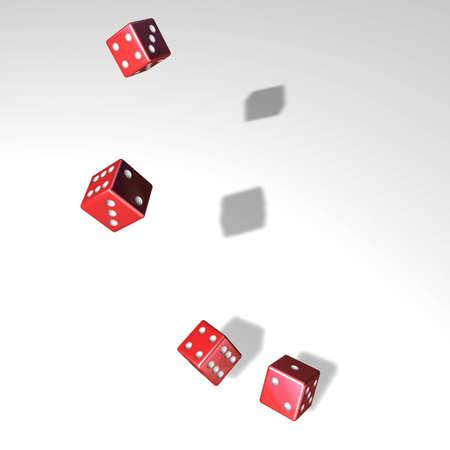 revoltijo: Para mezclar y jugar a los dados con cuatro cubos rojos Foto de archivo