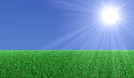noon: Big green field with grass and a big Sun in the sky Stock Photo