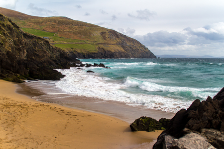 Beautiful beach in Ireland, rough sea