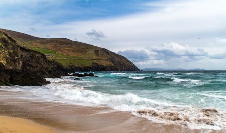 Beautiful beach in Ireland, rough sea