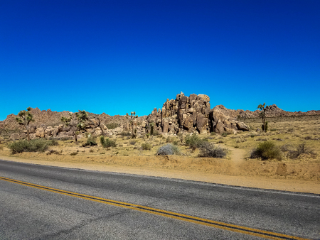 View over the road running through the desert landscape of the Joshua Tree Park in California