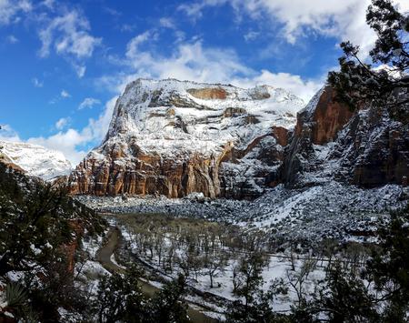 Zion National Park in snow in Utah