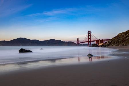 View of the Golden Gate Bridge from Marshall Beach Stock Photo