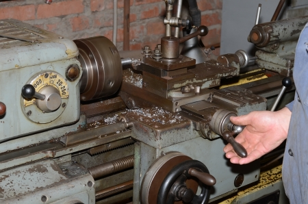 Lathe seventies of the last century in the old workshop  photo