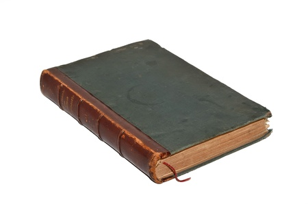 eared: The old leather-bound book on a white background