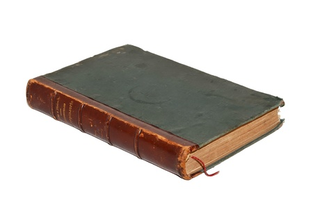 The old leather-bound book on a white background  photo