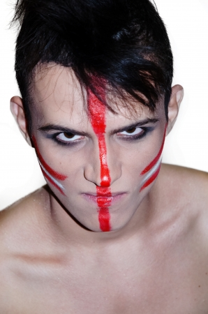 madman: The teenager in the form of a Madman Indian - zombies on Halloween