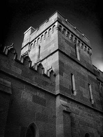 vorontsov: The tower of a medieval castle. Vorontsov Palace. Crimea. Ukraine.