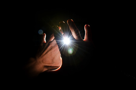 bright light: Hands protect against very bright flash of light.