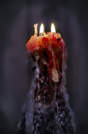 cold room: Double candle in a cold room.