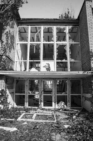 The war in Ukraine. Settlement Shyrokyne, Donetsk region. September 2018. Buildings destroyed as a result of military actions of the Russian invaders in 2014-2018.