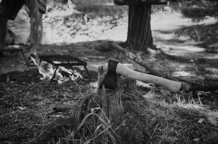 The ax stabs the stump for a picnic bonfire in black and white. Reklamní fotografie