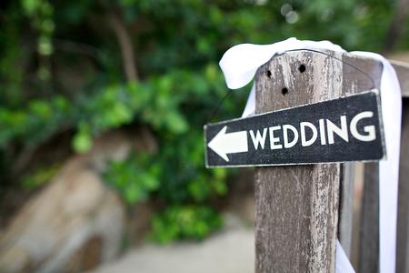 Düğün ahşap işareti Stok Fotoğraf