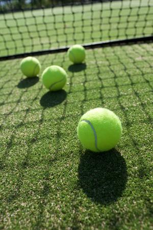 테니스 잔디 코트에 테니스 공 스톡 콘텐츠