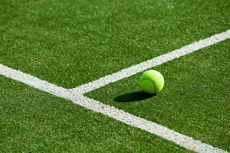 Balle de tennis sur le court de tennis sur gazon de Banque d'images - 43327718
