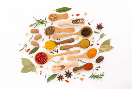 Various herbs and spices on wooden spoons. thyme, cinnamon, anise, nutmeg, rosemary, peppercorn, salt, paprika, turmeric, chilli, nutmeg, oregano, and cardamom on wooden background