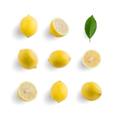 Seamless pattern with tropical fruit. Lemon isolated on white background. Collection