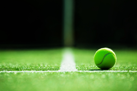 soft focus of tennis ball on tennis grass court