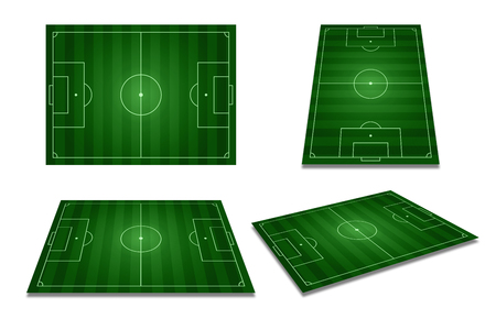 Different perspective of green football field, soccer field from top view. Stockfoto