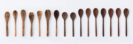 Kitchenware set of wooden fork, spoon and utensils Stockfoto