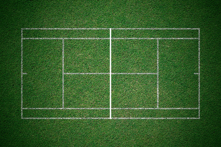 Tennis court, green grass with white line from top view.