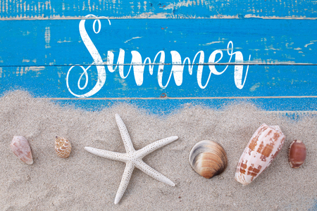 White sand star fish and shells with summer text on blue wooden Reklamní fotografie
