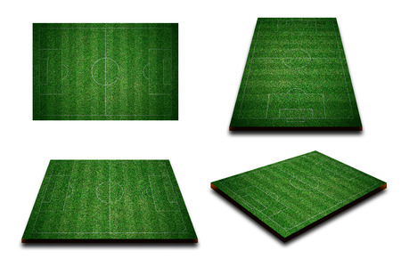 Different perspective of green football field, soccer field from top view. 写真素材