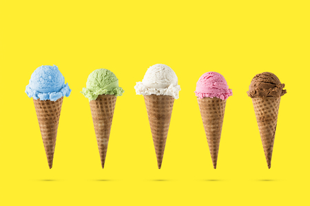 Variety of ice cream flavor in cones