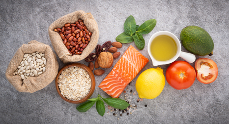 Selection of healthy food. Stockfoto