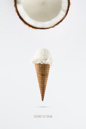 Coconut ice cream flavor in cones