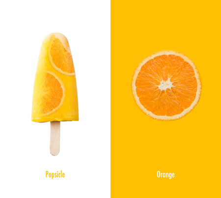 Creative layout made of orange ice cream