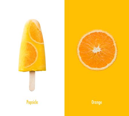 Creative layout made of orange ice cream