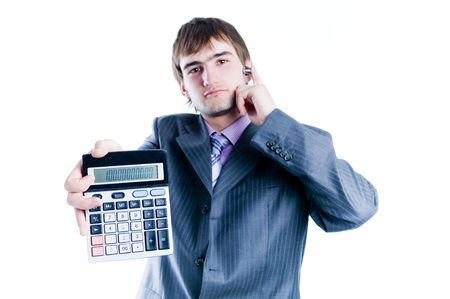 Businessman showing calculator with 1000+, focus on calculator, isolated on white background photo