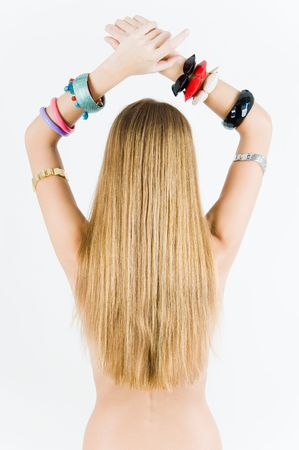 Young girl in watches and bracelets photo