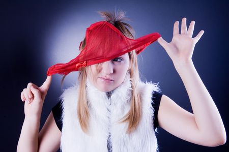 Funny young girl with panties on the head photo